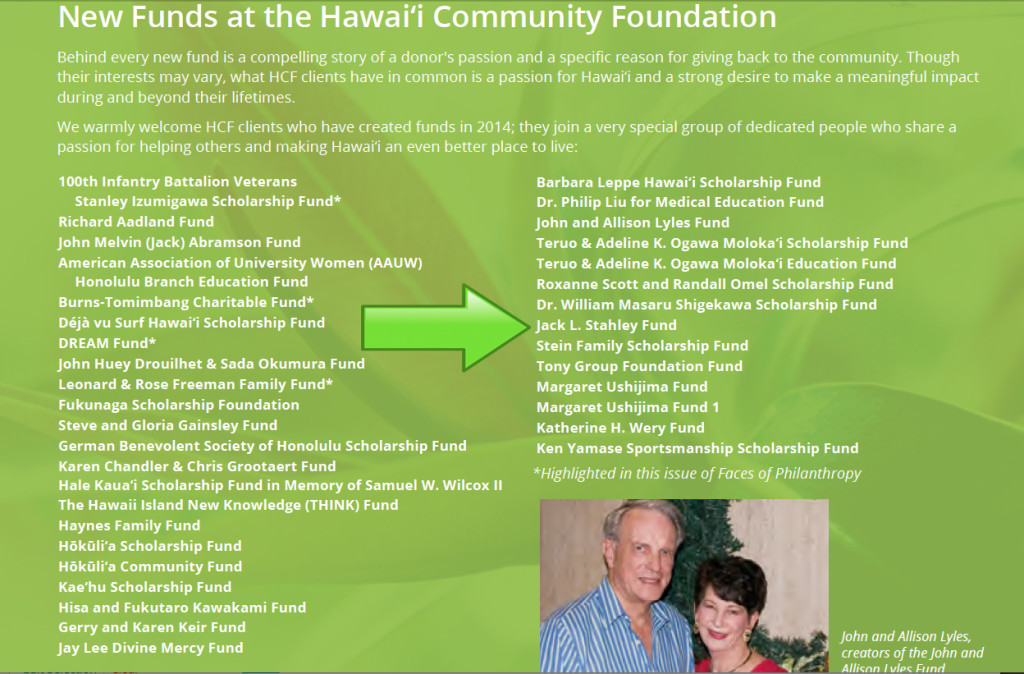 Staley Hawaii Community Fund Donor