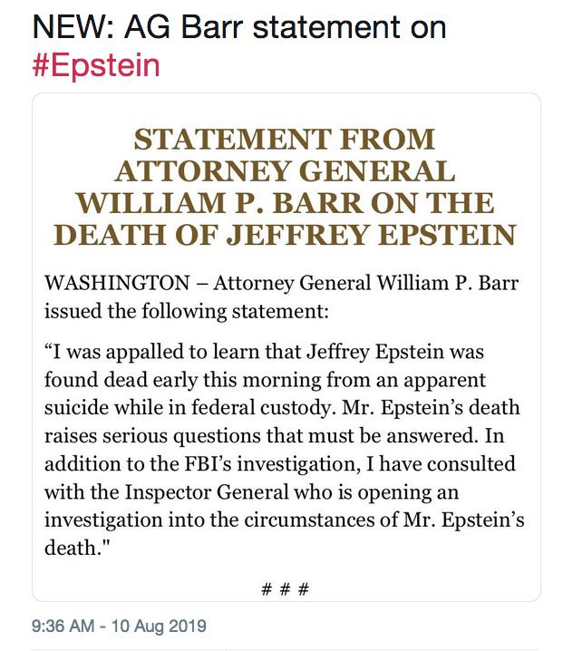 Jeffrey Epstein Death PSYOPS